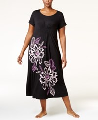 Alfani Plus Size Floral Print Nightgown Only At Macy's Classic Black