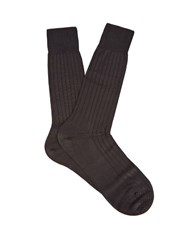 Pantherella Asberley Ribbed Silk Blend Socks Black