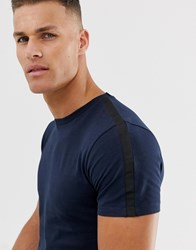 Selected Homme T Shirt With Side Stripe Navy