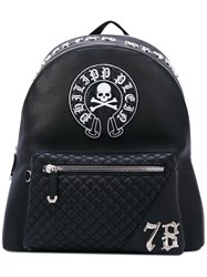 Philipp Plein Skull Patch Backpack Men Calf Leather One Size Black