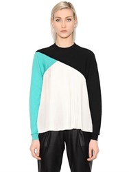 Vionnet Merino Wool And Pleated Silk Crepe Top