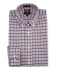 Neiman Marcus Trim Fit Non Iron Plaid Dress Shirt Blue Orang