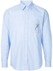 Gieves And Hawkes Embroidered Patch Fitted Shirt Blue