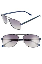 Boss Men's '0762 S' 58Mm Polarized Navigator Sunglasses Matte Blue