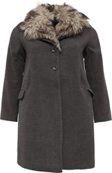 Lost Ink Curve Swing Coat With Fur Collar Grey