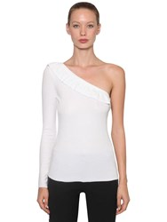Red Valentino Ribbed One Shoulder Cotton T Shirt White