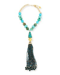 Devon Leigh Turquoise And Chrysoprase Tassel Necklace