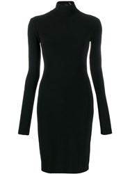 Norma Kamali Long Sleeve Fitted Dress Black