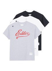 The Editor Logo Print T Shirt 3 Pack Set Multi Colour