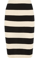 James Perse Striped Cotton And Linen Blend Jersey Pencil Skirt