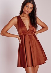 Missguided Silky Plunge Skater Dress Rust Brown