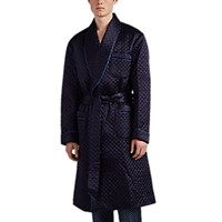 Barneys New York Quilted Satin Robe Blue