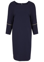 Laurel Navy Zipped Crepe Dress