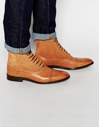 Asos Oxford Boots In Tan Leather And Suede Tan