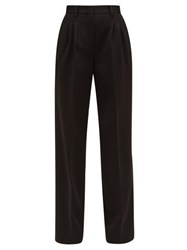 Fendi High Rise Ponte Wide Leg Trousers Black