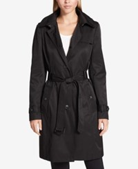 Dkny Hooded Belted Trench Coat Black