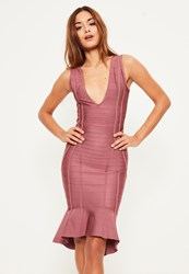 Missguided Purple Bandage Plunge Frill Hem Midi Dress Plum