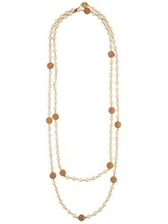 Chanel Vintage Faux Pear Camellia Necklace White