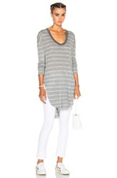 Nsf Kiya Top In Gray Stripes Gray Stripes