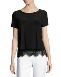 Cynthia Steffe Lace Hem Short Sleeve Tee Black