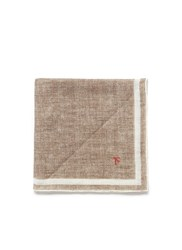 Isaia Coral Print Linen Pocket Square Brown