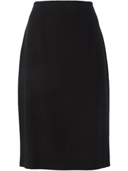 Jean Louis Scherrer Vintage Chevron Knee Length Skirt Black