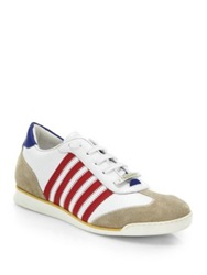 Dsquared Striped Lace Up Sneakers Blue White White Red Black Neon