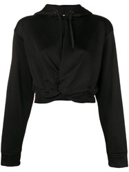 Alexander Wang T By Cropped Twist Front Hoodie Black