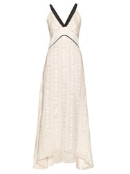 Zeus Dione Delphi Silk Blend Jacquard Dress Ivory