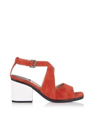 Paul Smith Ware Open Toe Block Heel Sandal Tan