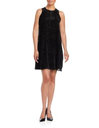 Calvin Klein Velvet Geometric Sleeveless Dress Black