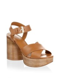 Robert Clergerie Viannel Leather Platforms Tan