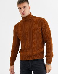 New Look Cable Pattern Roll Neck Jumper In Burnt Orange
