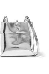 Kara Nano Tie Mirrored Leather Shoulder Bag Silver