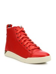 Diesel Caviar Tempus Diamond Leather Sneakers Red