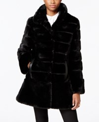 Jones New York Faux Leather Trim Faux Fur Coat Black