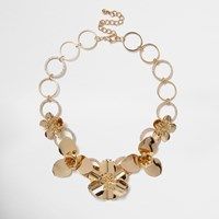 River Island Womens Gold Tone Large Flower Bib Necklace