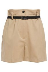 3.1 Phillip Lim Woman Belted Stretch Wool Shorts Sand