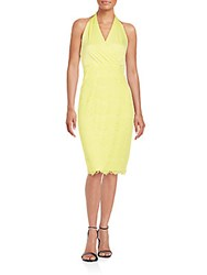 Alexia Admor Scalloped Lace And Knit Halter Dress Lemon