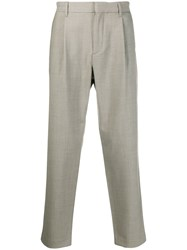 Theory Tailored Cropped Trousers Neutrals