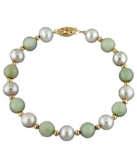 Macy's 14K Gold Bracelet Cultured Freshwater Pearl And Jade