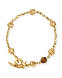 Marco Dal Maso Fu 18K Yellow Gold Faceted Tiger Eye Bracelet With Diamonds