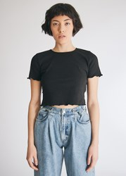 Which We Want Bella Crop T Shirt In Black Size Small Spandex