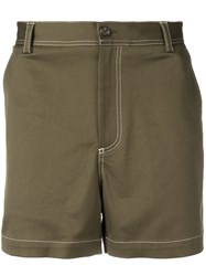Versace Contrast Stitching Shorts Green