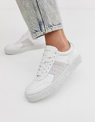 Selected Femme Leather Trainer With Suede White