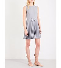 Red Valentino Fit And Flare Pleated Woven Dress Inox
