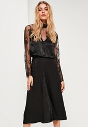 Missguided Black Satin Full Midi Skirt