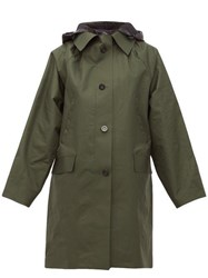 Kassl Editions Hooded Single Breasted Raincoat Green