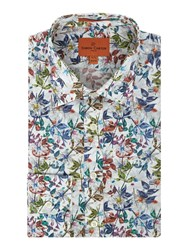 Simon Carter Men's Textured Floral Print Jagger Shirt Multi Coloured Multi Coloured