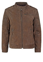 Tom Tailor Leather Jacket Olive Brown